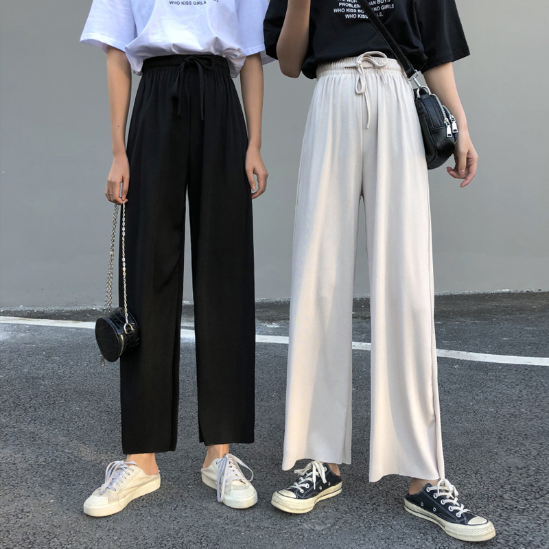 New Ins Summer Solid Lacing Harajuku Korean Style Women's High Waist Drape   Pants   Loose Wild Casual   Pants     Wide     Leg     Pants   Trousers