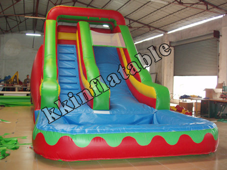 ФОТО inflatable water slide with pool/front load double lane inflatable slide