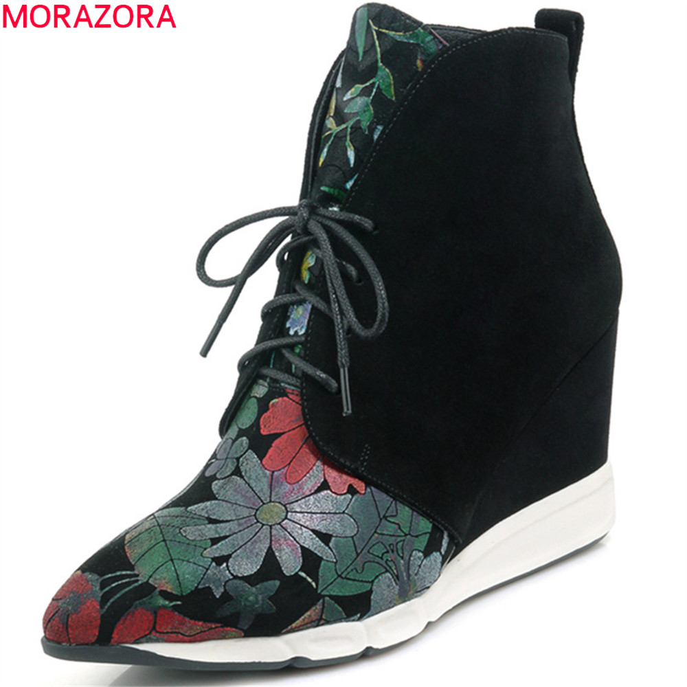 MORAZORA fashion new arrive women boots pointed toe lace up kid suede boots black wedges ankle boots boots autumn winter new arrival black leather and suede ankle boots women pointed toe short boots wedges boots metal buckles decorated free shipping