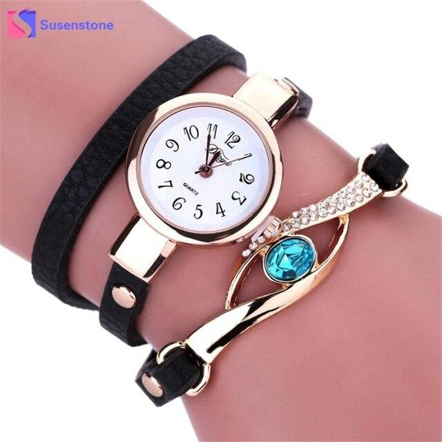 Fashion Women Watch Diamond Wrap Around PU Leather Bracelet Watches Luxury Ladie