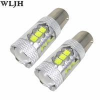 WLJH 2x 1200lm 80W LED 12V 24V LED 1156 P21W BA15S S25 Projector Len Car DRL