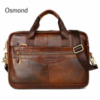 Osmond Men Briefcases Lawyer Genuine Leather Handbag Vintage Laptop Briefcase Messenger Bags Casual Men's Bag For Documents