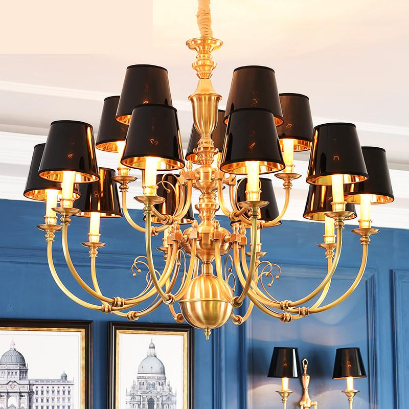 Modern Led Chandeliers American Antique Living Room Lamp Villa Building Chandelier Light ...