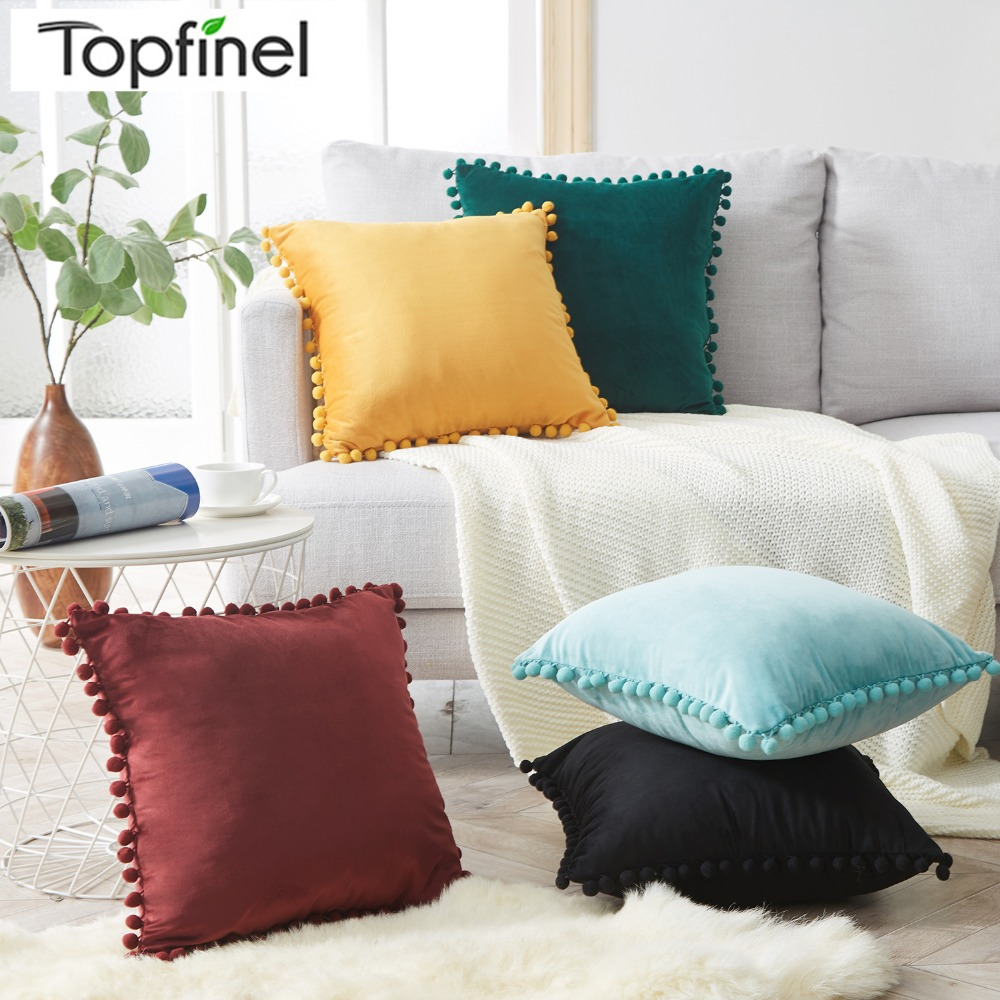 Topfinel Velvet Soft Throw Pillowcases With Balls Home Decor Cushions Covers Square For Sofa Bed Car Home Multiple Sizes 5 Color