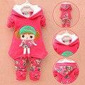 Conjuntos de Roupas de bebê Meninas Terno De Lã de Cordeiro Inverno Quente Engrossar Hoodies das crianças Set Roupa Dos Miúdos Set Crianças Roupa Do Natal