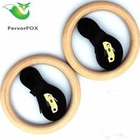 FervorFOX 1pair Lot Wood Wooden 1 1 Portable Gymnastics Rings Home Fitness Gym Crossfit Strength Training