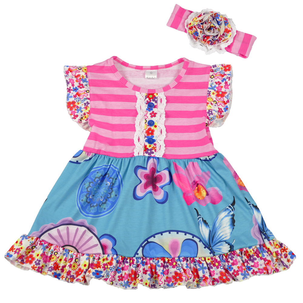 Baby Girls Clothes Kids Wear Summer Pink Blue Floral Soft Ruffles Print Dress With Hairbow boutique sleeveless Dress DX018 new summer cotton baby girls kids boutique clothes dress mint pink stripe rabbit print ruffles with matching accessories