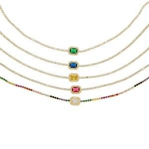 Image 2 - Женское Ожерелье чокер с радужным камнем талисманом