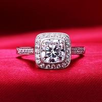 1 Carat Fashion Ring 925 Sterling Silver Jewelry Sona Nano Stylish Imitation Diamond Finger Ring US
