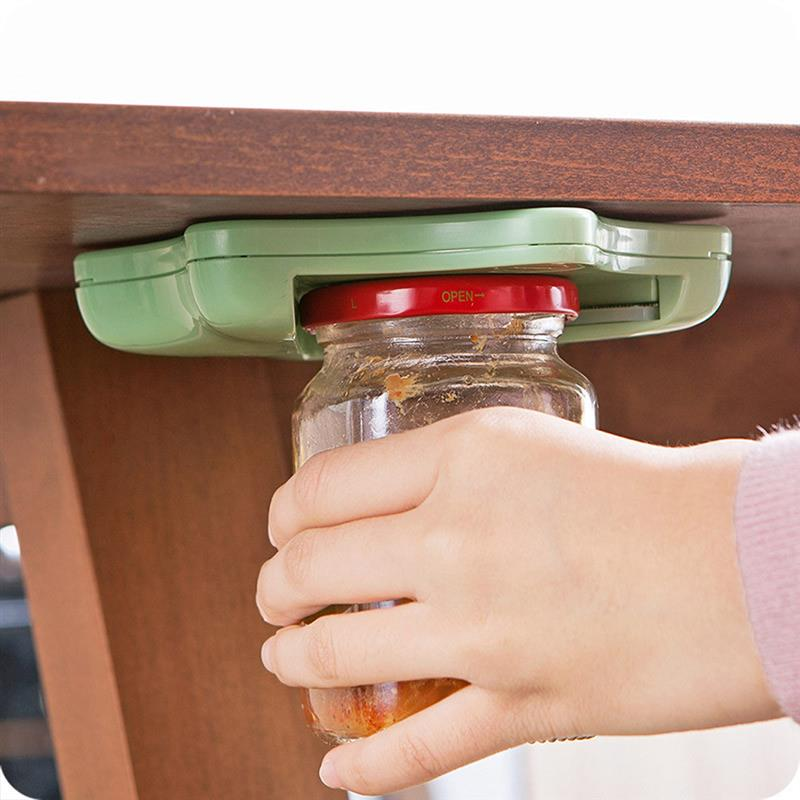 creative can opener under the cabinet self-adhesive jar bottle opener and top lid remover