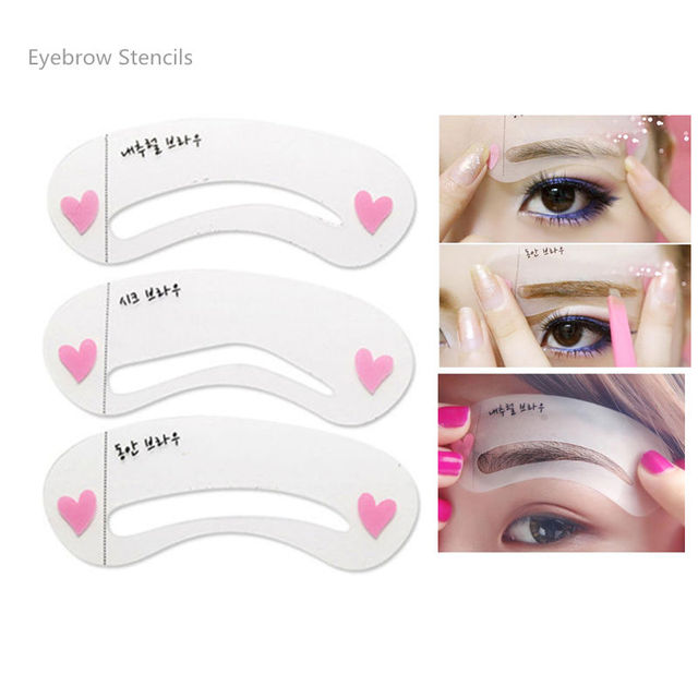 3Pc Korean Makeup Magic Eyebrow Stencil Shapes 3 Styles Template Reusable Eyebrow Card Aid Easy Makeup Eye Cosmetic Tools
