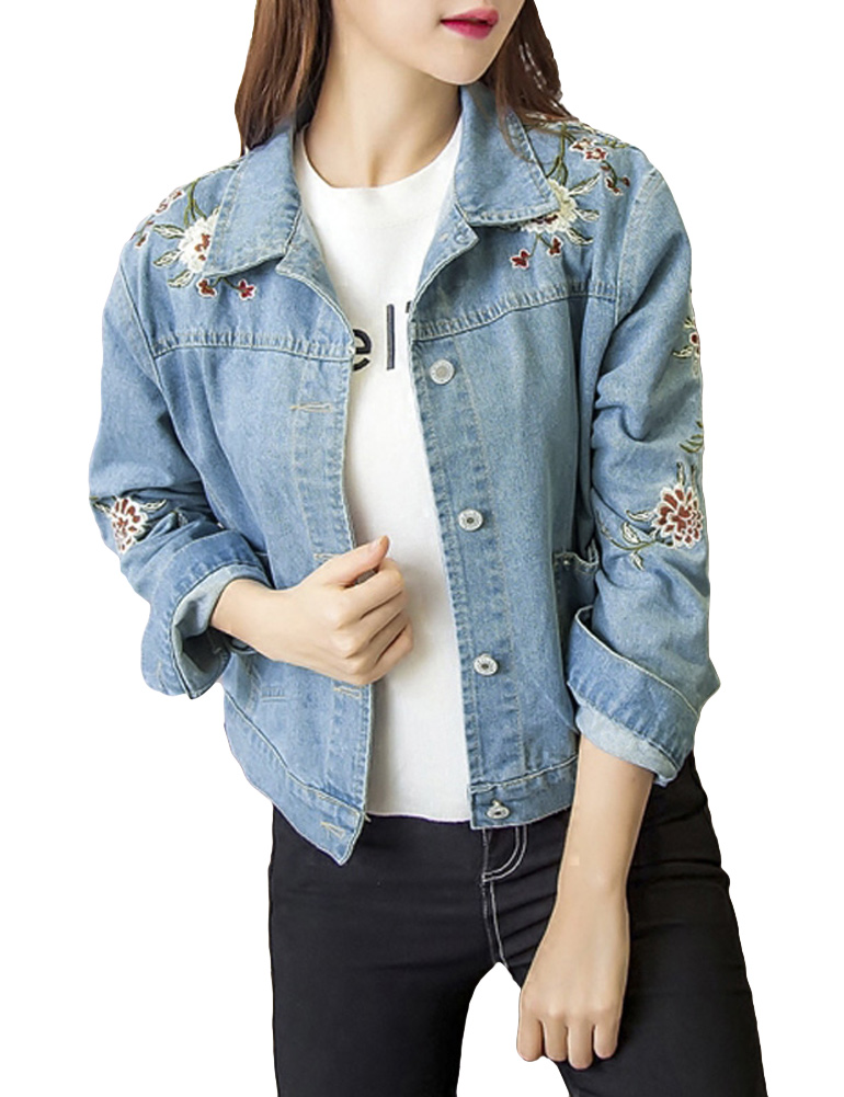 2019 Winter Fashion Floral Embroidery Women Denim   Jacket   Autumn Long Sleeve Pockets   Basic     Jacket   Casual Jeans Coat Outerwear