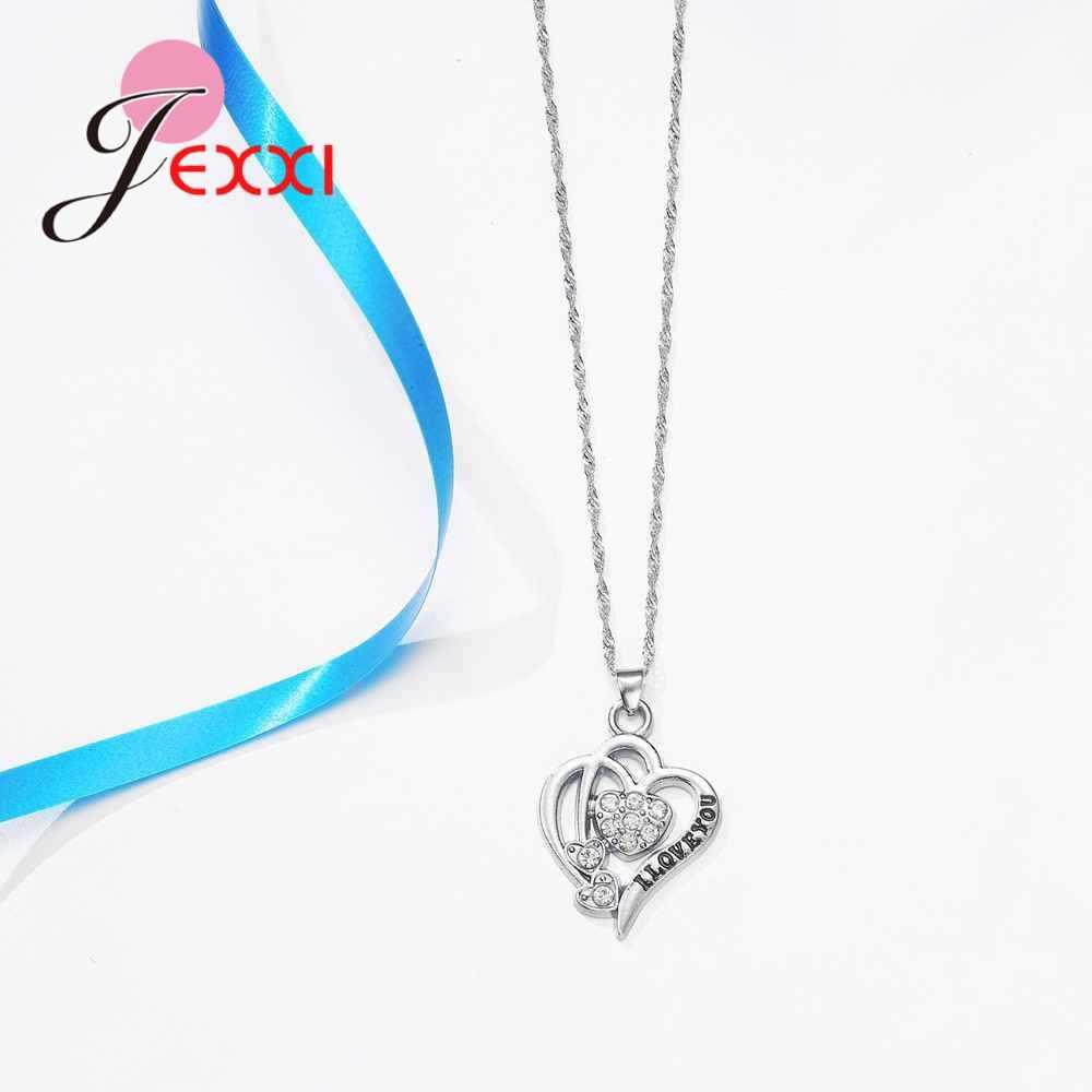 حقيقي 925 فضة أفضل هدايا عيد الحب لصديقة رومانسية الحب رسائل منحوتة الزركون مجموعات مجوهرات
