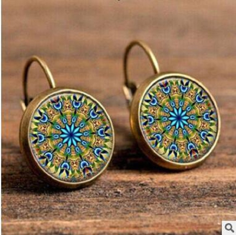 Exknl Boho Flower Drop Earrings For Women Vintage Jewelry Geometric Pattern Round Earings Bijoux boucles d'oreilles bohemia 13