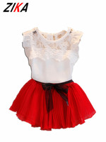 Zika summer trẻ em quần áo dress voan bé gái quần áo set ren top váy outfit kids trẻ em quần áo toddler công chúa dressset
