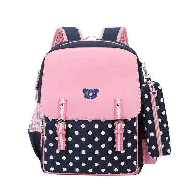 7225c8ac19f9b كحلي البولكا نقطة حقيبة بنات حقائب مدرسية للأطفال الكورية نمط الاطفال الظهر  طفل المدرسة الابتدائية لصبي
