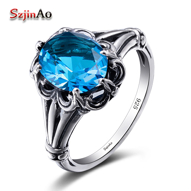 Szjinao 2018 100% Handmade Vintage Wedding Band Rings For Women Oval Cut Dark Blue Topaz Female Engagement Jewelry WholesaleSzjinao 2018 100% Handmade Vintage Wedding Band Rings For Women Oval Cut Dark Blue Topaz Female Engagement Jewelry Wholesale