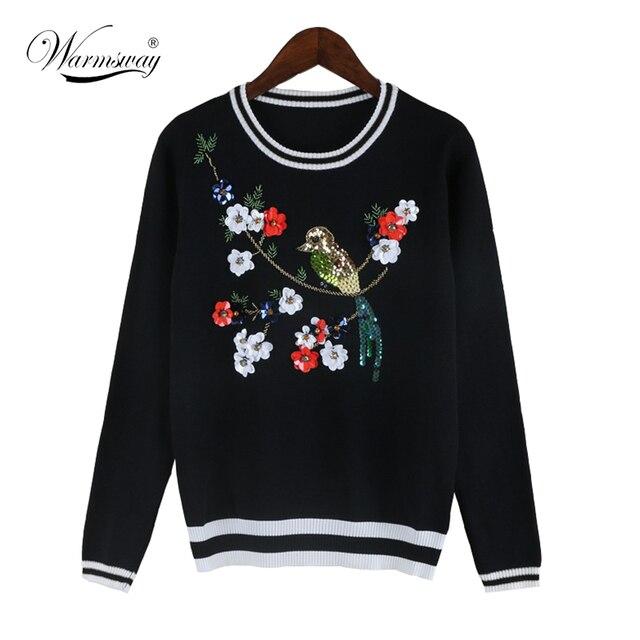 Весна Осень Взлетно-Посадочной Полосы Дизайнер Пуловеры женская Высокое Качество Роскошный Алмазы Блестками Птиц Цветочный Свитер WS-117