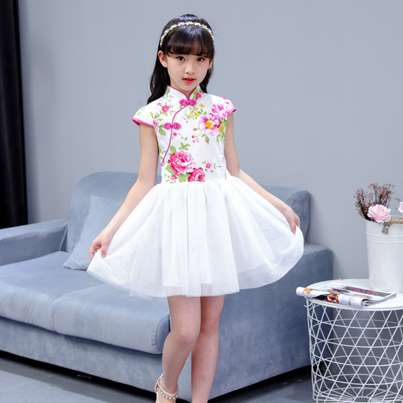 2018 Summer Children Girl Cheongsam Dress Chinese Traditional Qipao Short Sleeve Dress Cotton Girl Skirt Children Cheongsam