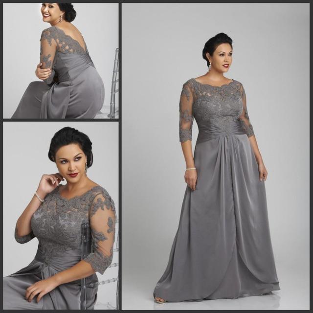 Plus Size Mãe da Noiva Vestidos de Cinza de Prata da Jóia Neck Sheer Metade Mangas Lace Applique Mulheres Formal Festa de Casamento vestidos