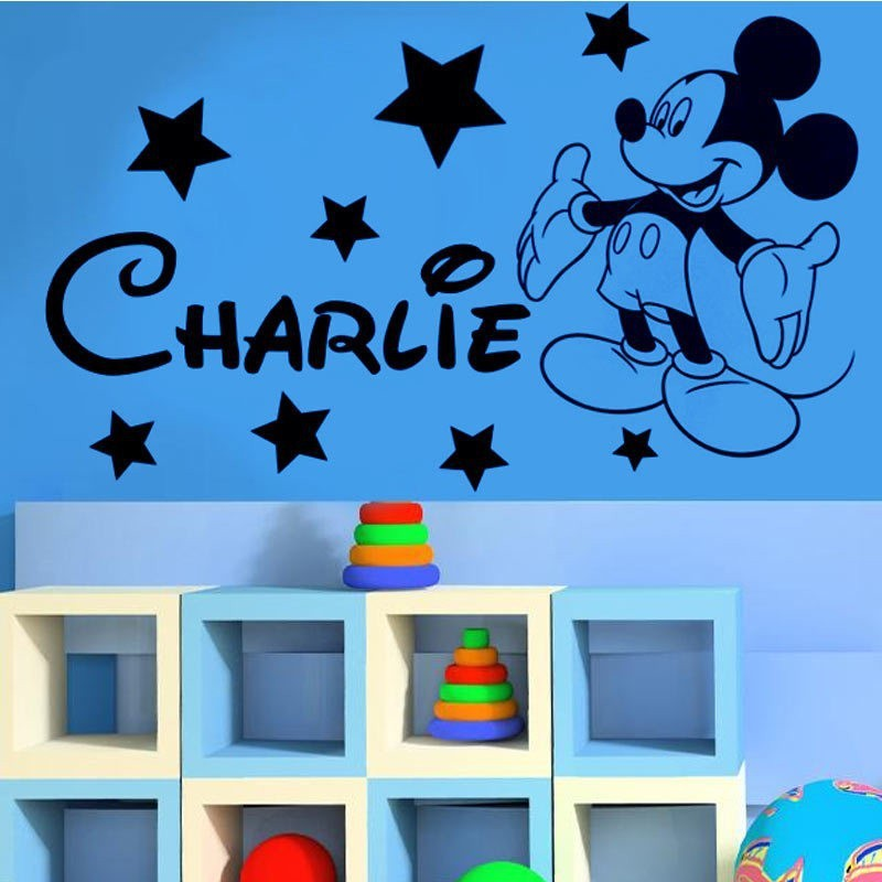 Free Shipping Cute Mickey Mouse Boys Bedroom Custom Name Wall Decal  Children Vinyl Art Decal For