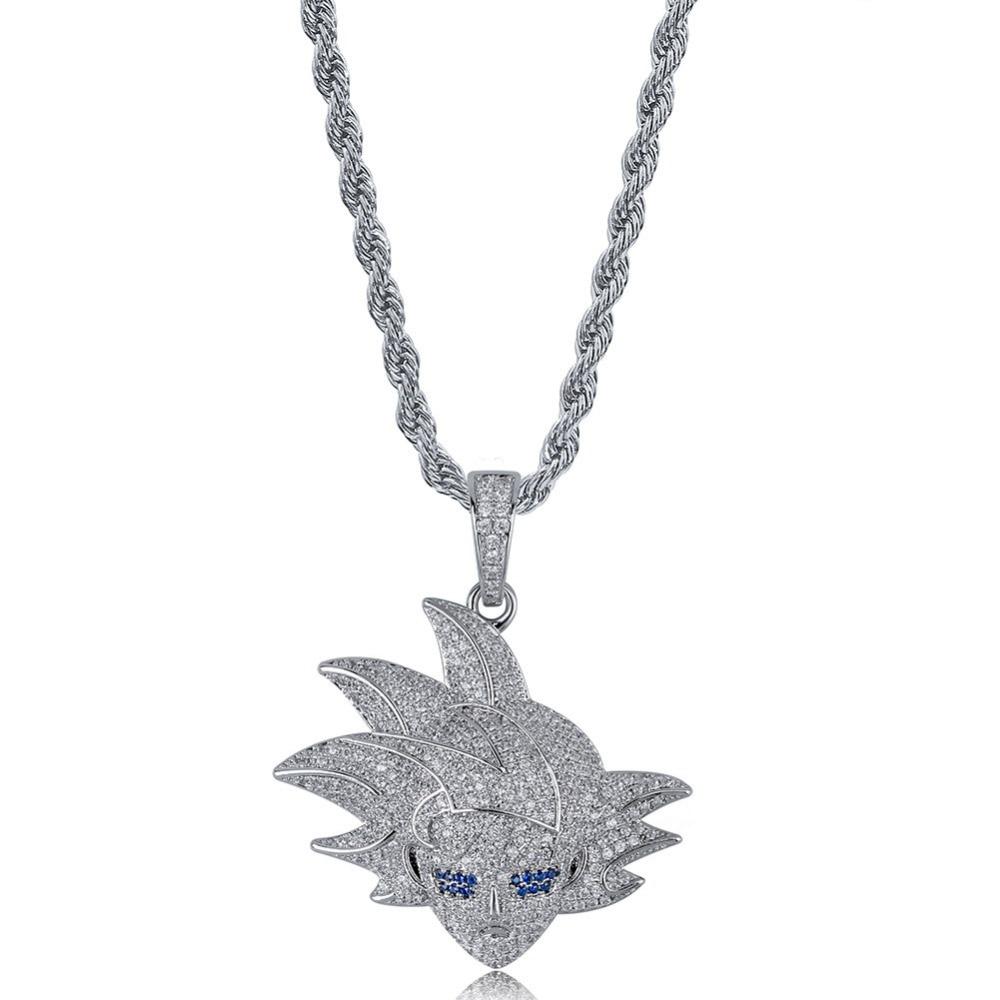 Hip Hop Bling Ice Out AAA CZ Zircon Dragon Ball personnages de bande dessinée souper Saiyan GOKU pendentif collier hommes rappeur bijoux - 3