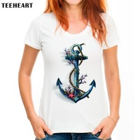 2017 Women Summer Novelty Sea Spirit anchor Design T shirt fashion Tops Hot Sales Tee Shirts