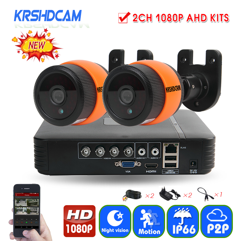 4CH CCTV System 1080P AHD 1080N CCTV DVR 2PCS 3000TVL IR Waterproof Outdoor Security Camera Home Video Surveillance kit KRSHDCAM