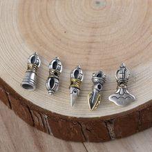 Ручная работа, 925 серебро, тибетский колокольчик, амулет, Стерлинговое Серебро, буддистская Ваджра, амулет, тибетская мала, амулет, тибетский колокольчик