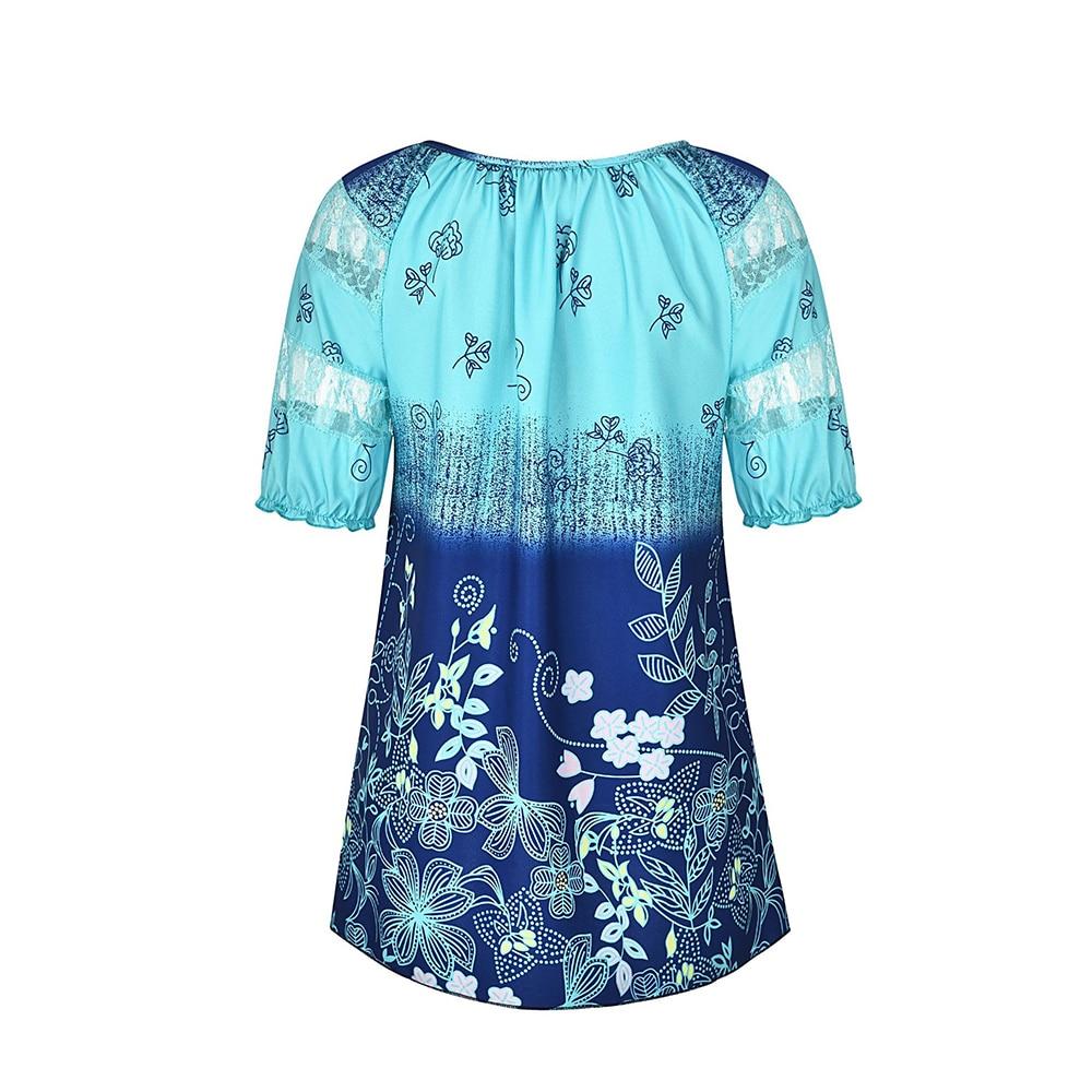 gris Cielo Mujer Tamaño Casual Túnica Blusa De Para Mujeres Mujer Cordón Flor Manga Plus 5xl Rojo Túnicas Y Azul Corta Corbata coral turquesa Tops wqEH6RS7x