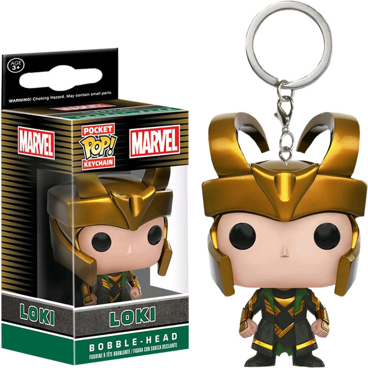 Funko popo Loki Figure Doll Key Chain New Novel Gift 2018 Collectible Model Toy Car Key Ring Phone Rings Key Accessories ...