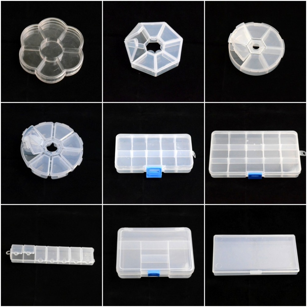 Adjustable Jewelry Necklace Transparent Storage Box Case Holder Craft Organizer Beads Jewelry Container