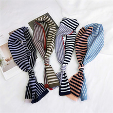 11*103Cm Long Stripe Casual Print Satin Silk Skinny Scarf Female Tie Bag Ribbon Hair Band Women Head-Neck Thin Soft Scarves