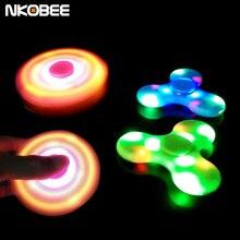 Fidget nkobee led edc mano spinner spinner bluetooth altavoz portátil bluetooth altavoz para el autismo y niños/adultos fidget juguete