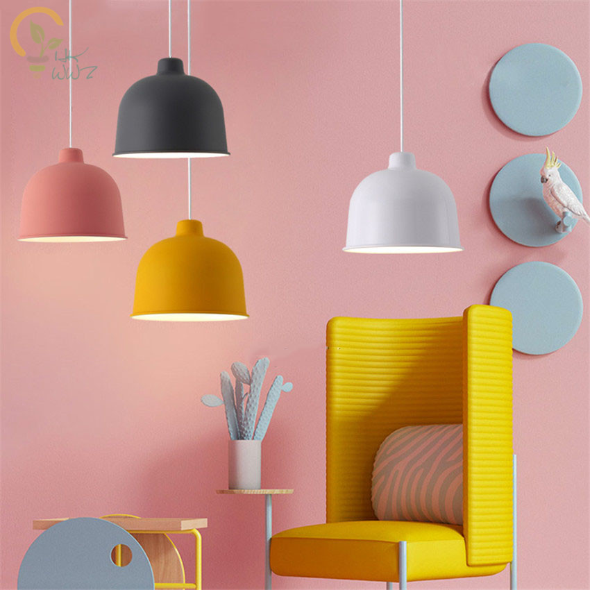 E27 Nordic Colorful Led Pendant Light Modern Hanging Lamp Metal Lampshade Bedroom/Kitchen Island Pendant Lamps for Home Lighting