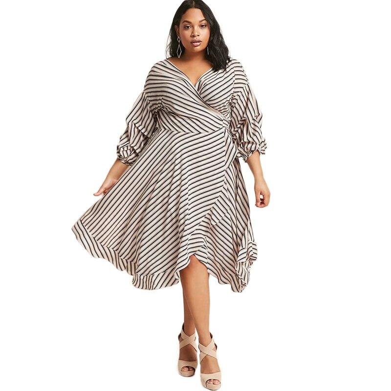 US $33.3 |Black white stripe long sleeve plus size mid calf ruffle wrap  dresses women ladies V neck bow tie high waist oversize dresses-in Dresses  ...