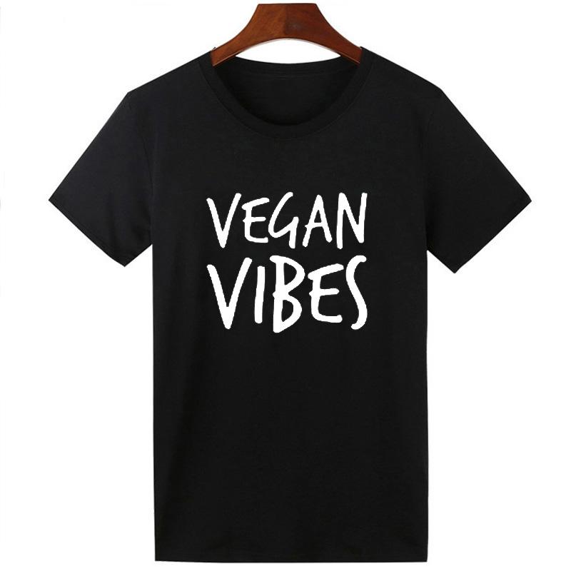 Pkorli VEGAN VIBES Letters Print T Shirt Women Cotton Casual Lady Tumblr T-Shirts For Girl Tops Tshirts Graphic Tees Dropship 10