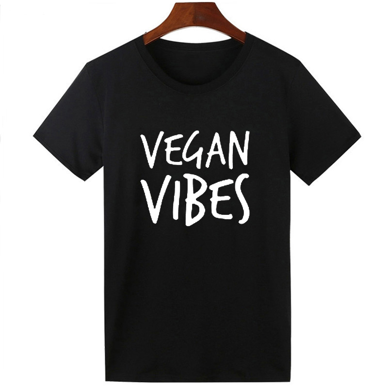 Pkorli VEGAN VIBES Letters Print T Shirt Women Cotton Casual Lady Tumblr T-Shirts For Girl Tops Tshirts Graphic Tees Dropship 10