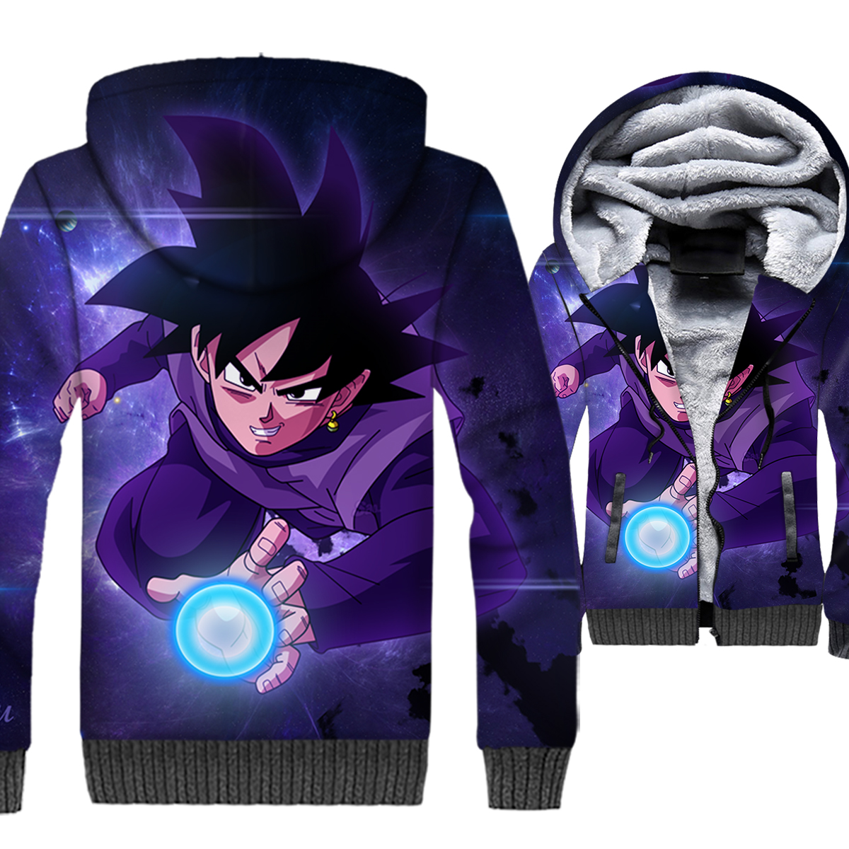 Dragon Ball Super Saiyan 3D Hoodie Men Japanese Anime Sweatshirt Cool Coat Winter Fleece Vegeta Trunks Jacket Black Streetwear