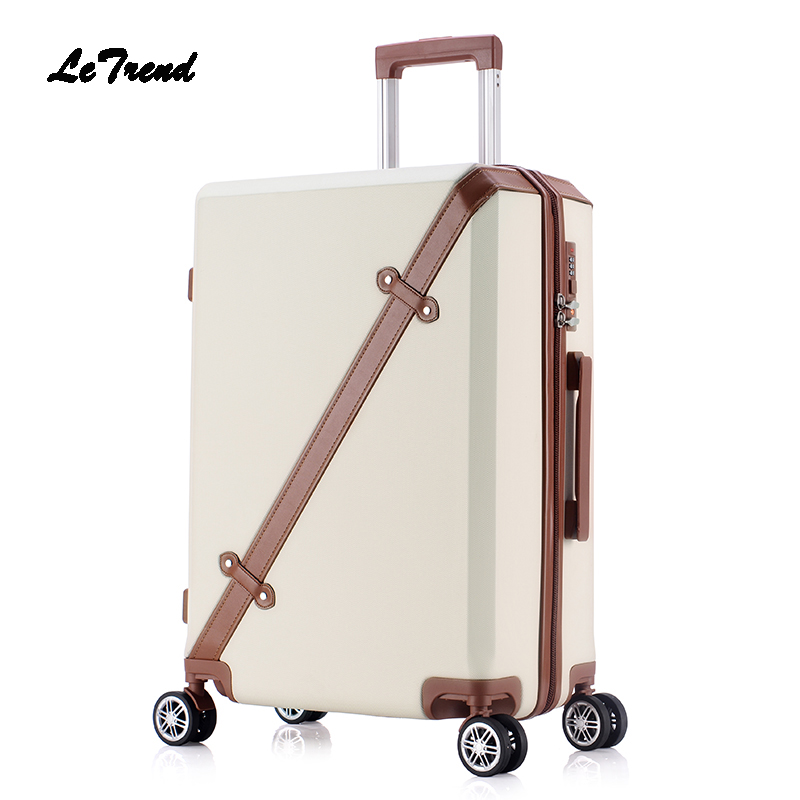 Letrend Rolling Luggage Spinner Suitcase Wheels 24 inch Student Fashion Korean Trolley 20 inch Carry On Travel Bag password vintage suitcase 20 26 pu leather travel suitcase scratch resistant rolling luggage bags suitcase with tsa lock