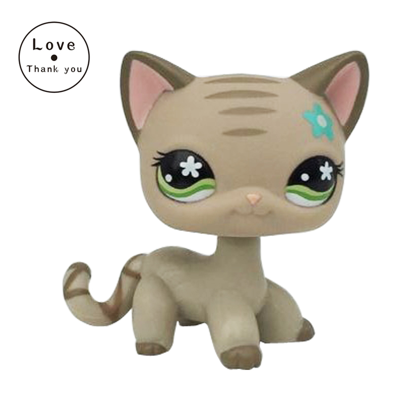 Lovely  Collection Original pet #483 Grey Striped Short hair Cat Kitten Green Eyes Toy pet