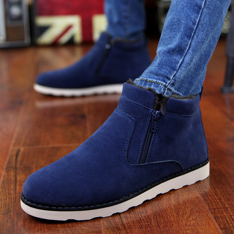 Winter Boots Men Warm Shoes 2018 Top Fashion New Casual With Short Plush Ankle Snow Boots Zipper Winter Shoes Men Plus Size 47