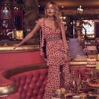 Bazaleas Ties Spaghetti strap women midi Dresses Pink Heart Print Women party dress Ruffles Split vestidos DROP SHIPPING