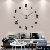 2017 New Wall Clock DIY Large 3D Roman Numerals Design Fashion Art Home Decor Stickers Wall Watch Living Room