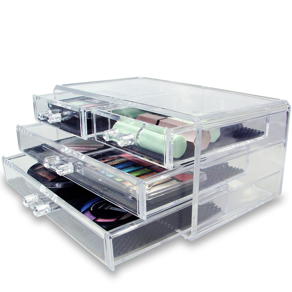 1a7a7632d8e4 Novelty 3 Layer Clear Acrylic Drawers Style Makeup Cosmetics Jewelry ...