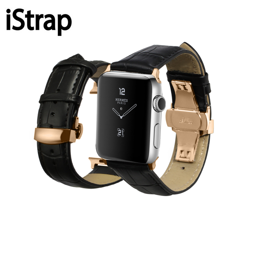iStrap 38mm 42mm Genuine Calf Watch Strap with Stainless Steel Adapter 38mm 42mm for Iwatch leather Apple Watch Band istrap black brown red france genuine calf leather single tour bracelet watch strap for iwatch apple watch band 38mm 42mm