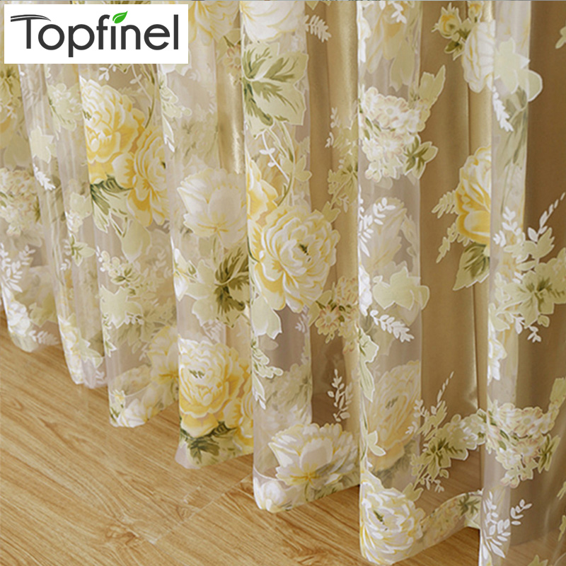Top Finel HOT Modern Rose Floral Tulle for Window Curtain Sheer Curtains for Living Room the Bedroom Window Screening Panel|sunflower curtain|curtains sheets|curtain electric - title=