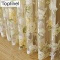 Topfinel Bien vendido, de alta calidad, hecho a medida, clásico, elegante, elegante, transparente, de tul en las ventanas con dibujos de rosas y flores de sol para sombrear las ventanas de tul para la sala de estar.