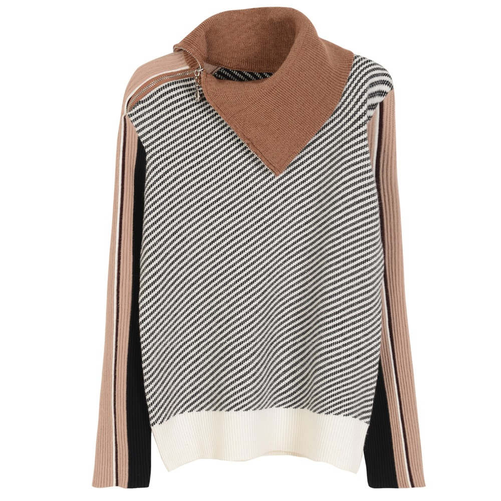 women basic striped turtleneck sweater high quality wool knitted runway sweater pullover jumper big stretch knitwear