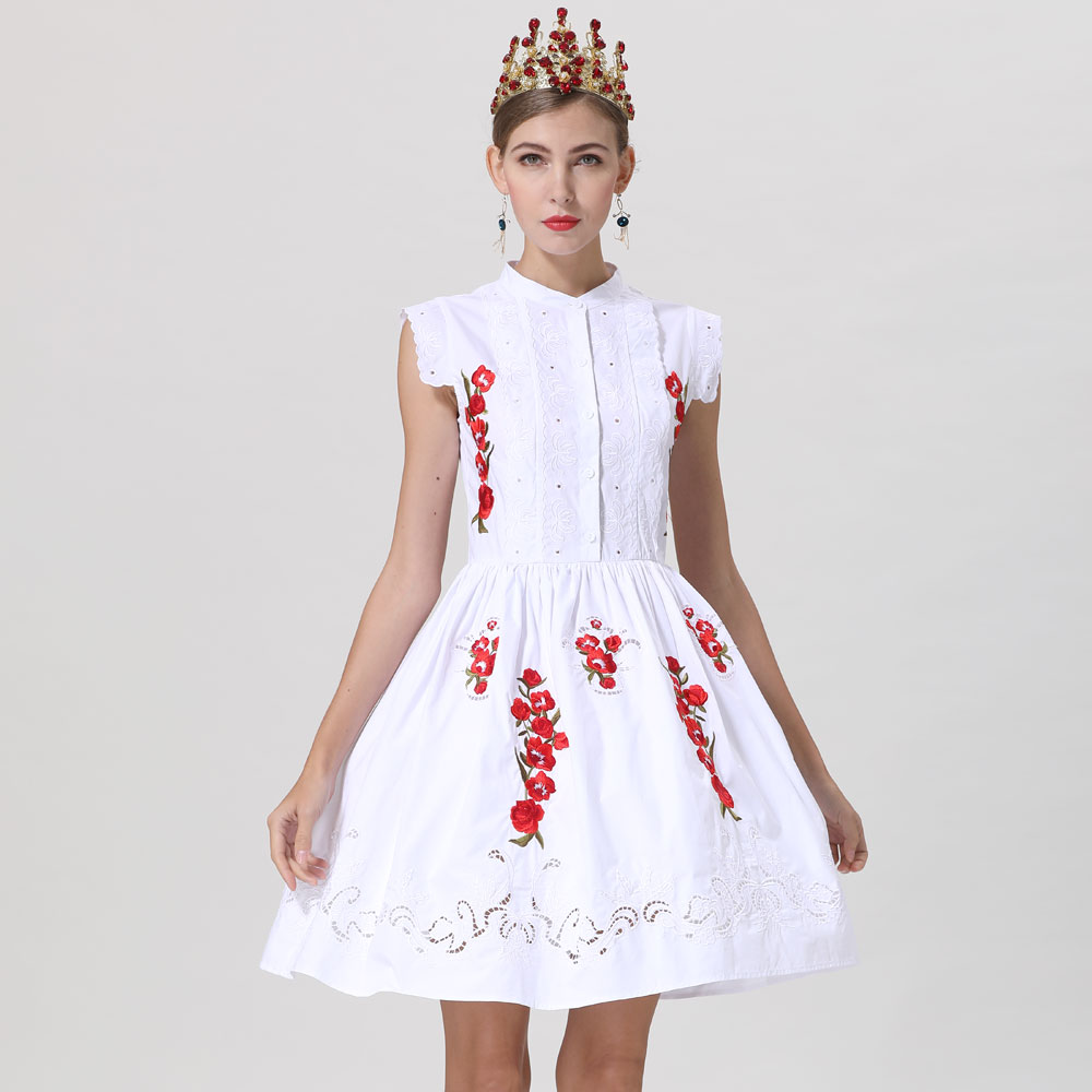 Red RoosaRosee New Elegant Hollow out Embroidery Sleeveless Lady White Cotton Dresses 2019 Designer Women Spring